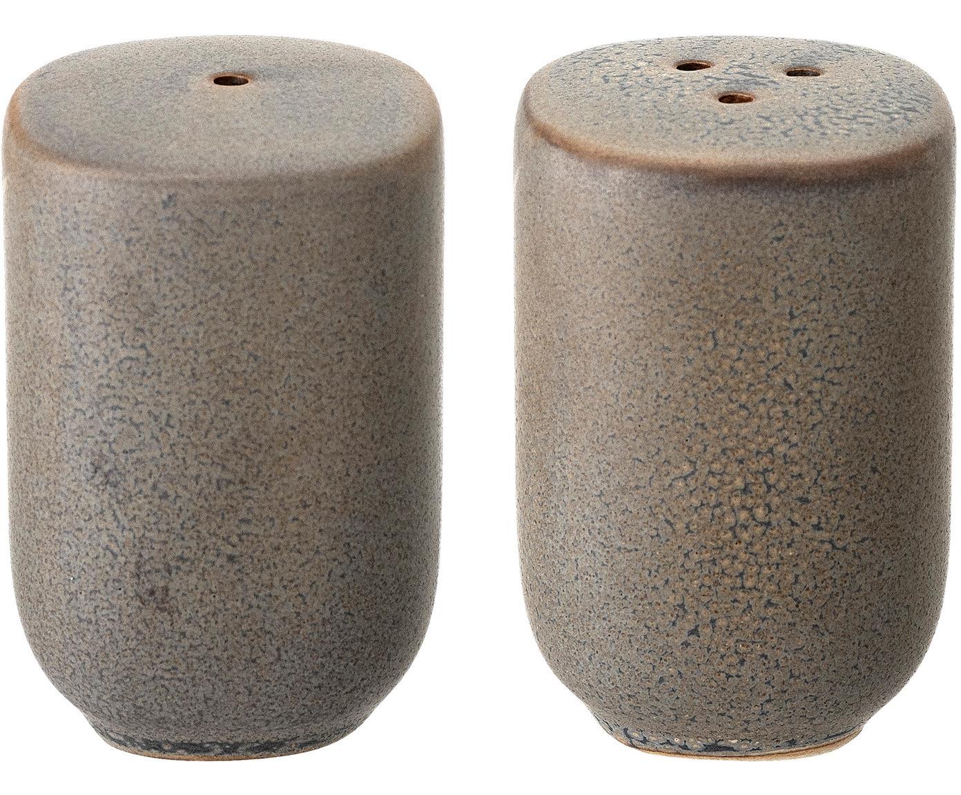 Ręcznie wykonana solniczka i pieprzniczka Kendra, Kamionka, Greige, Ø 5 x W 7 cm
