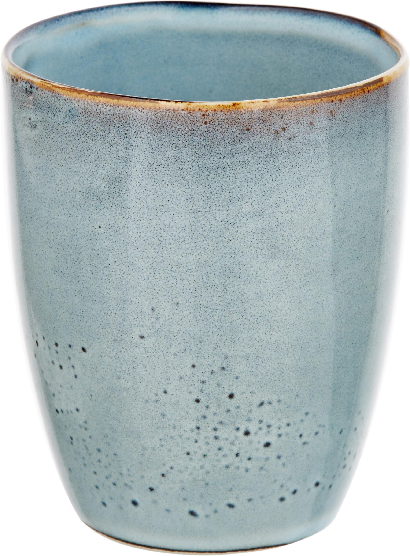 Ręcznie wykonany kubek Thalia, 2 szt., Ceramika, Szary z ciemną krawędzią, Ø 9 x W 11 cm