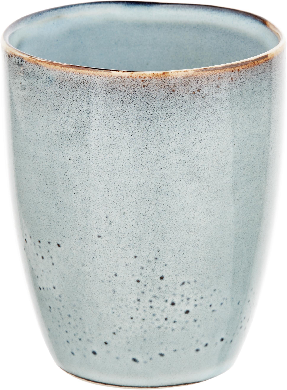 Handgemaakte mokken Thalia, 2 stuks, Keramiek, Grijs met donkere rand, Ø 9 x H 11 cm