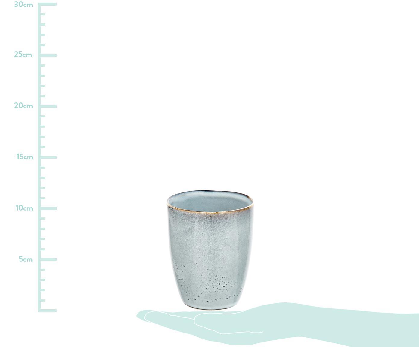 Tazas artesanales Thalia, 2uds., Gres, Claro gris azulado, Ø 9 x Al 11 cm