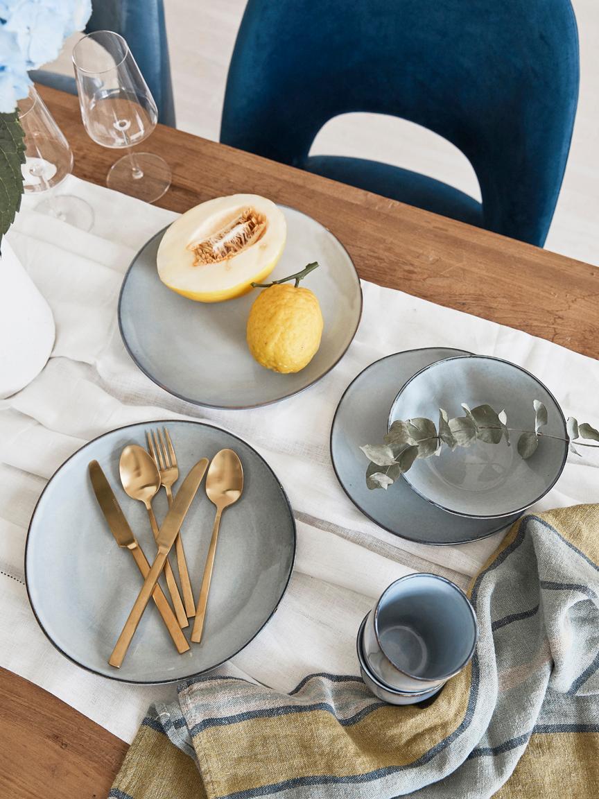 Tasses faites artisanales Thalia, 2pièces, Gris avec bordure foncée