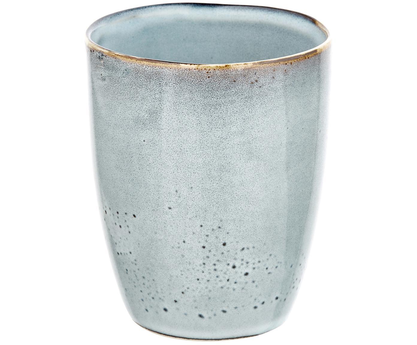 Handgemachte Becher Thalia, 2 Stück, Steinzeug, Blaugrau mit dunklem Rand, Ø 9 x H 11 cm