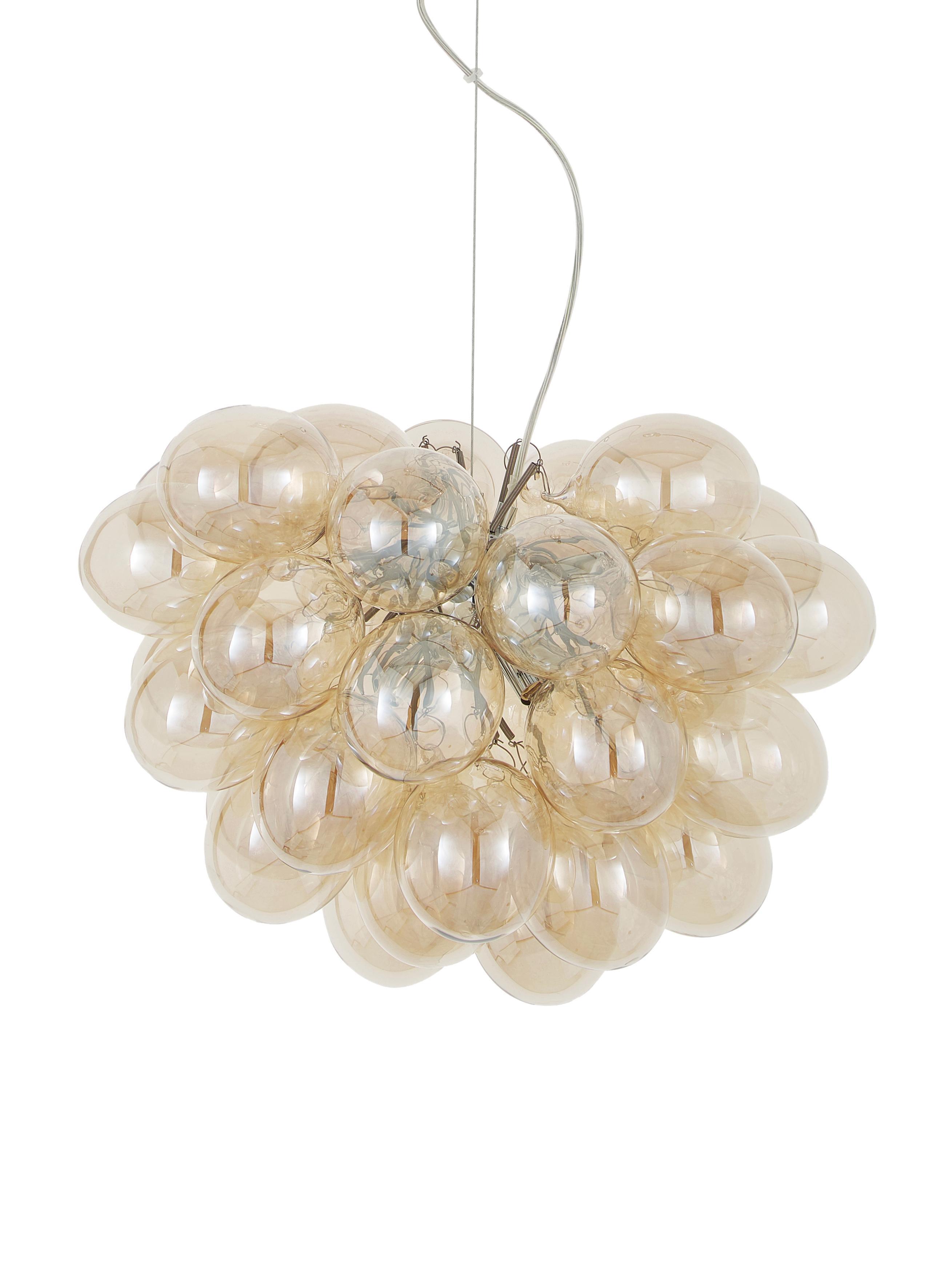 Hanglamp met glazen bollen Gross, Amberkleurig, Ø 50 x H 50 cm