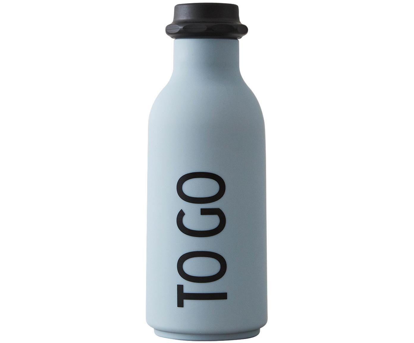 Design Isolierflasche To Go mit Schriftzug, Flasche: Tritan (Kunststoff), BPA-, Deckel: Polypropylen, Hellblau matt, Schwarz, Ø 8 x H 20 cm