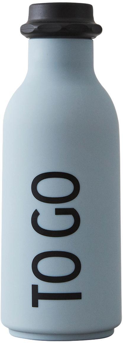 Bottiglia di design con scritta To Go, Coperchio: polipropilene, Azzurro opaco, nero, Ø 8 x Alt. 20 cm