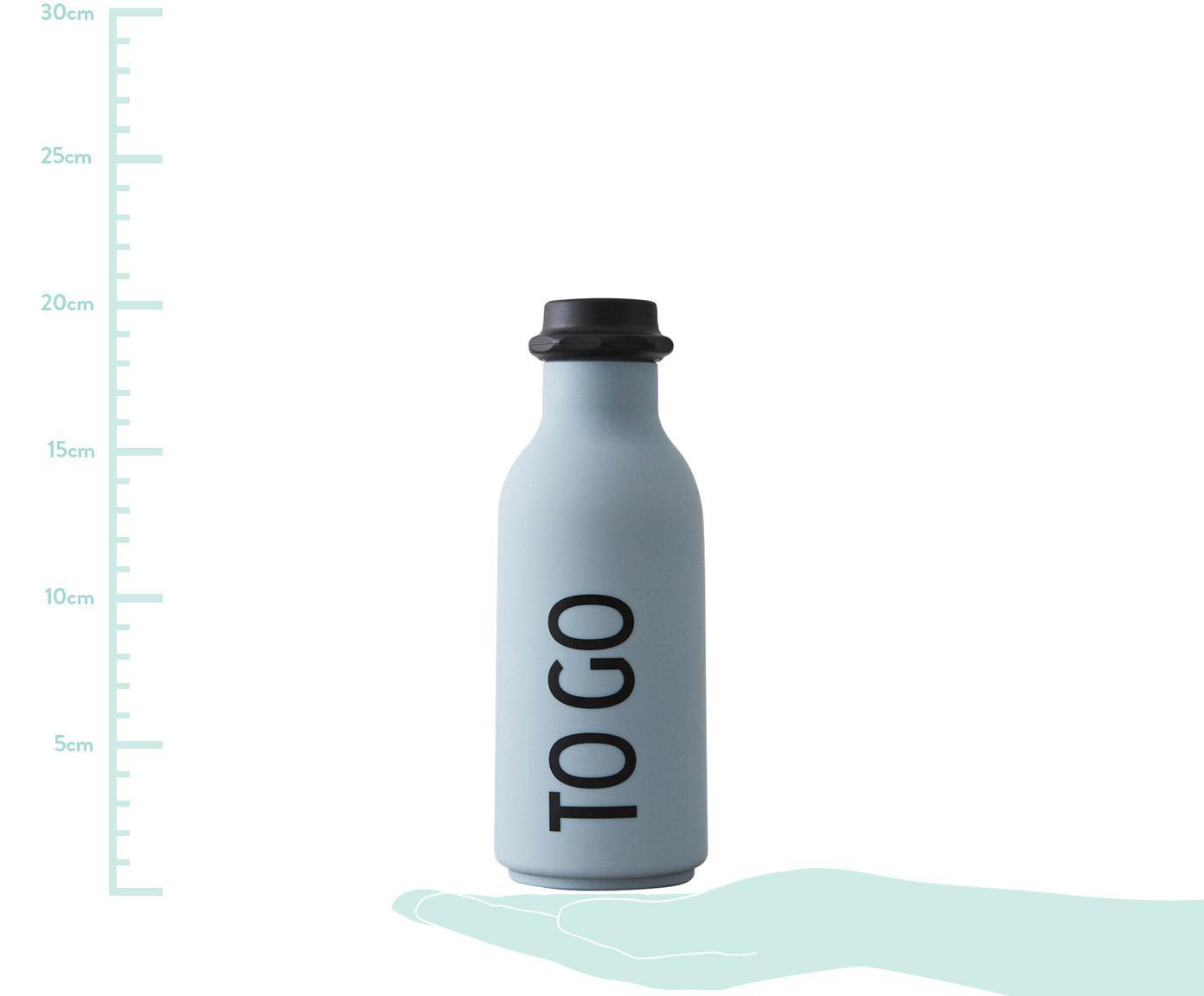 Drinkfles To Go, Fles: tritan (kunststof), BPA-v, Deksel: polypropyleen, Mat lichtblauw, zwart, Ø 8 x H 20 cm
