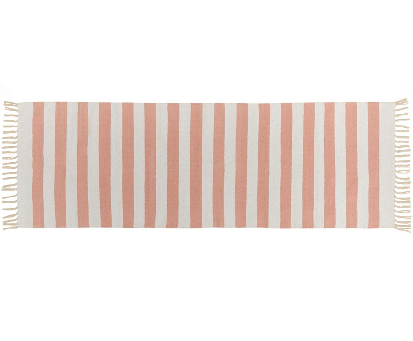 Gestreifter Baumwollläufer Malte in Koralle/Weiß, Korallrot, Weiß, 70 x 200 cm