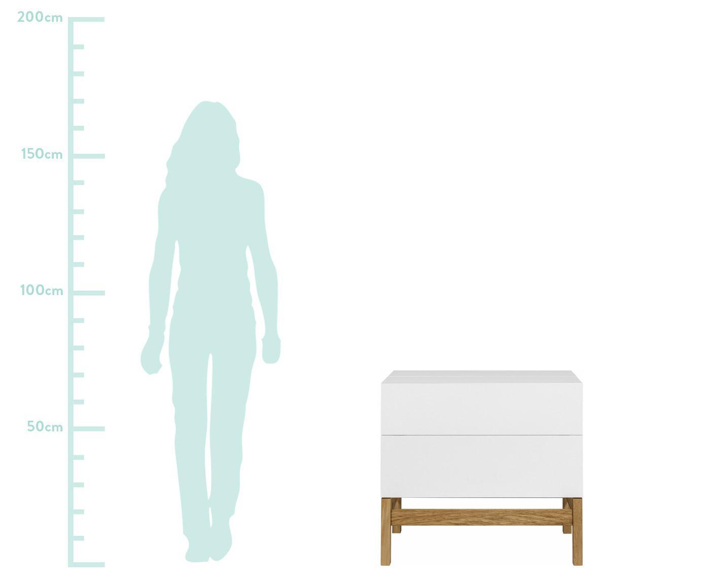 Mini bar Grande, Gambe: legno di quercia, Bianco, L 75 x A 70 cm