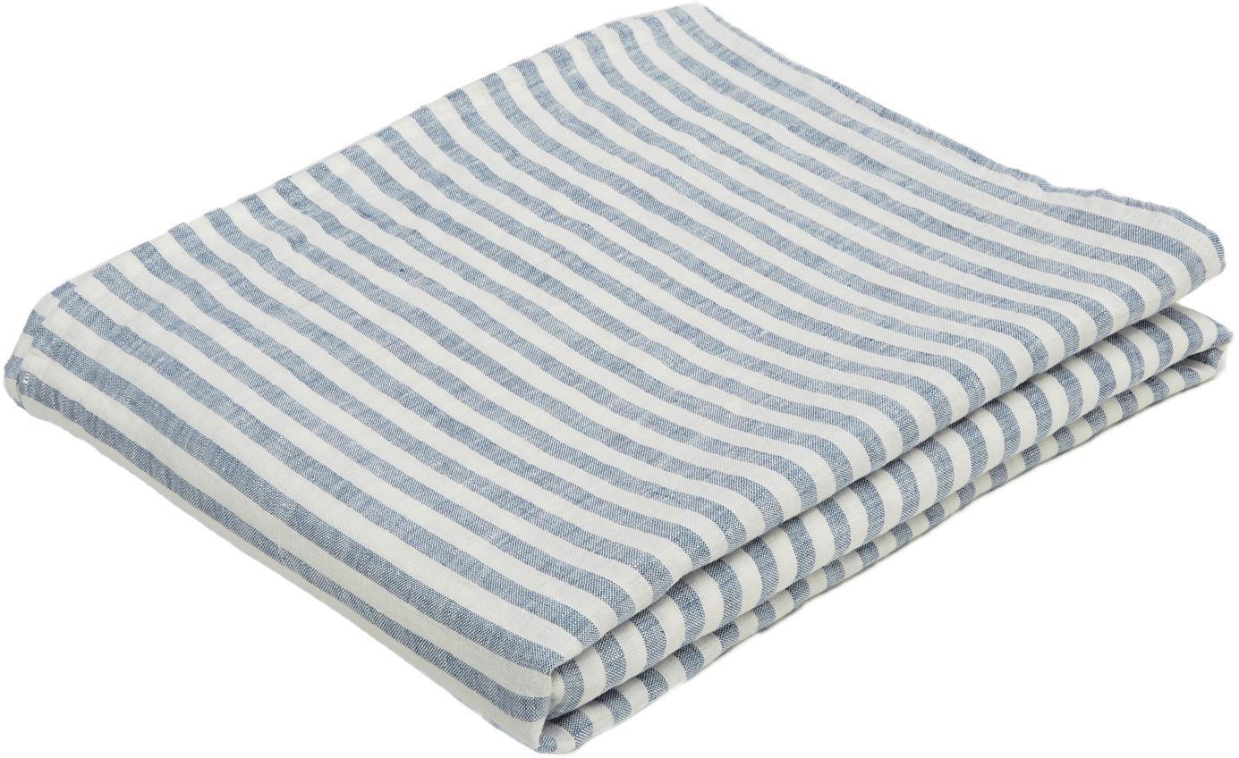 Mantel de lino Solami, Lino, Azul claro, blanco, De 6 a 8 comensales (An 150 x L 250 cm)