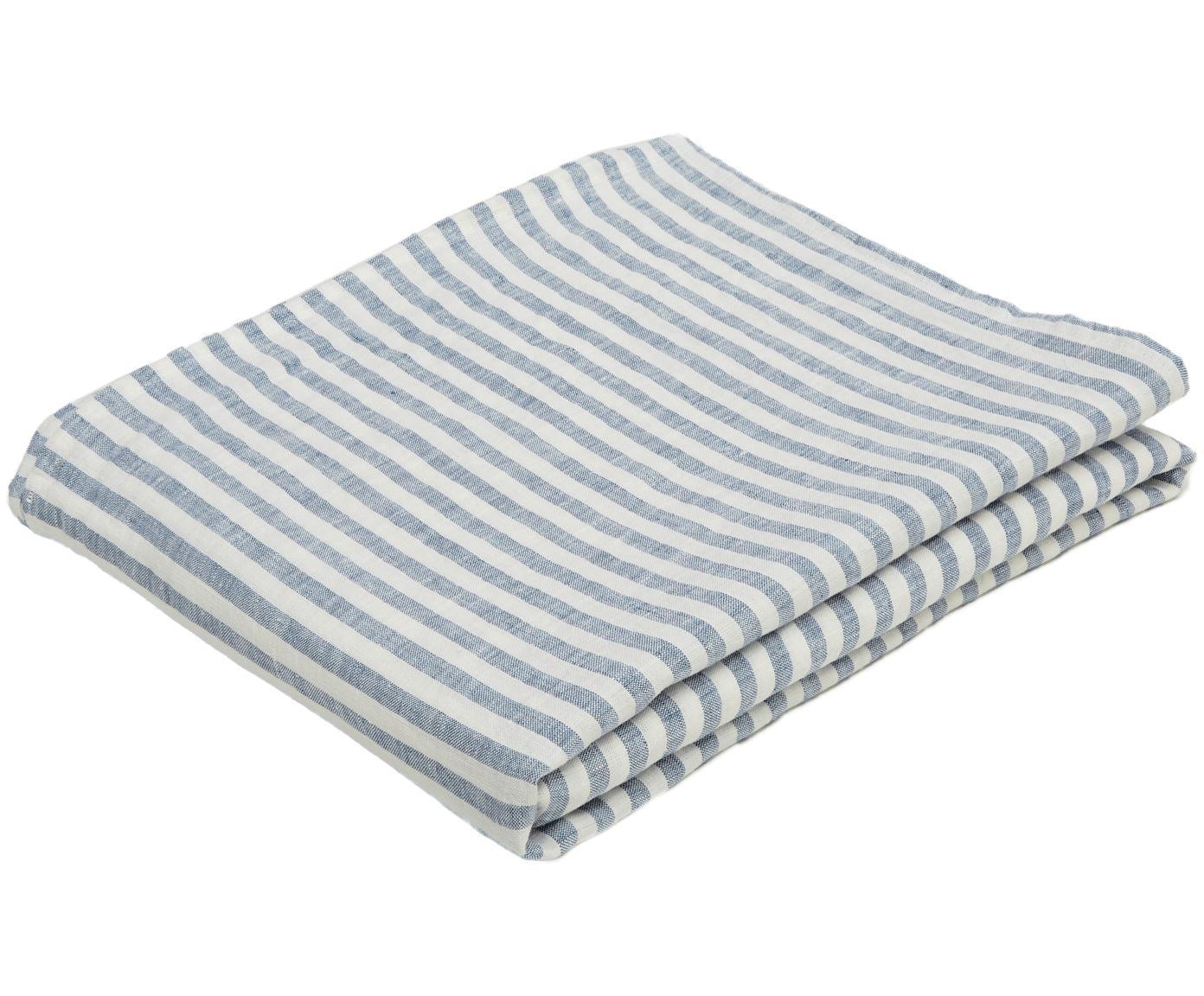 Linnen tafellaken Solami, Linnen, Lichtblauw, wit, Voor 6 - 8 personen (B 150 x L 250 cm)