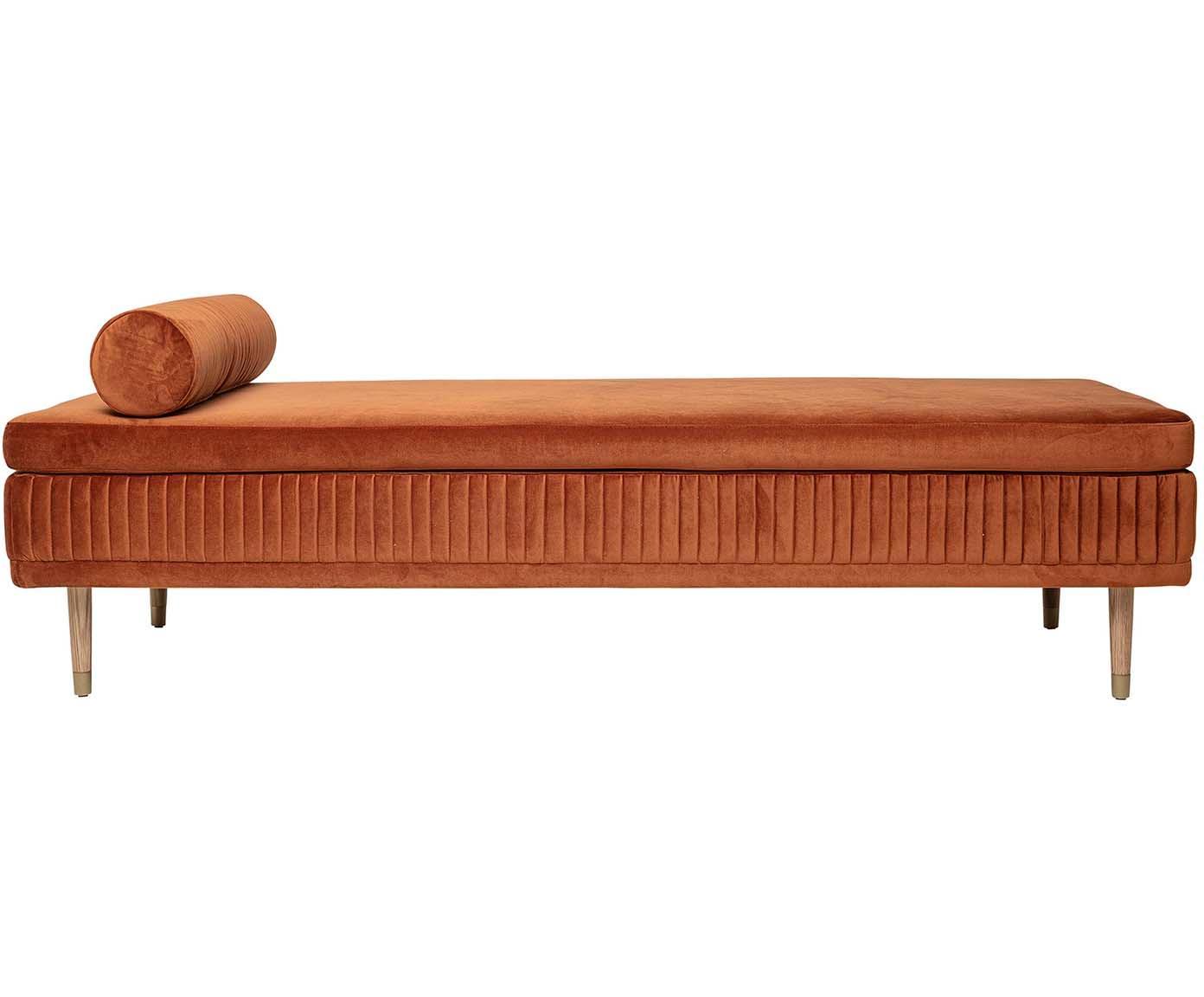 Fluwelen daybed Hailey, Bekleding: polyester fluweel, Poten: eikenhout, metaal, Fluweel roestbruin, B 190 x D 80 cm