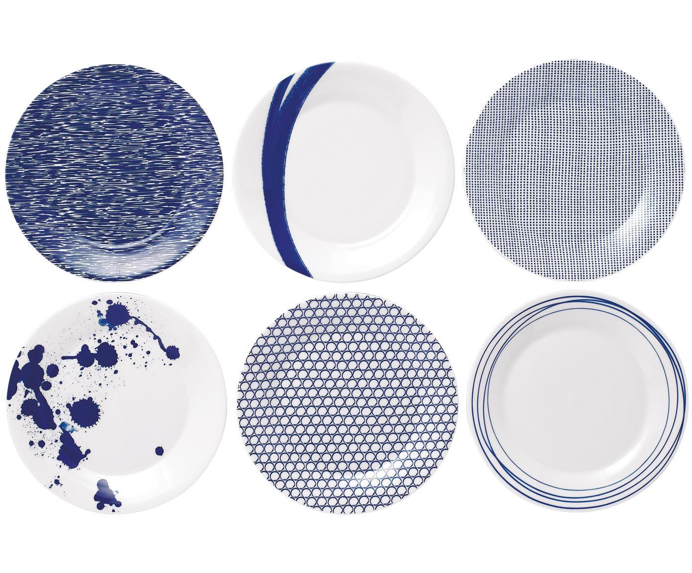 Platos postre Pacific, 6pzas., Porcelana, Blanco, azul, Ø 23 cm