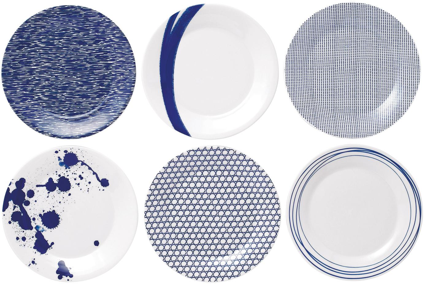 Gemusterte Porzellan-Frühstücksteller Pacific, 6er-Set, Porzellan, Weiß, Blau, Ø 23 cm