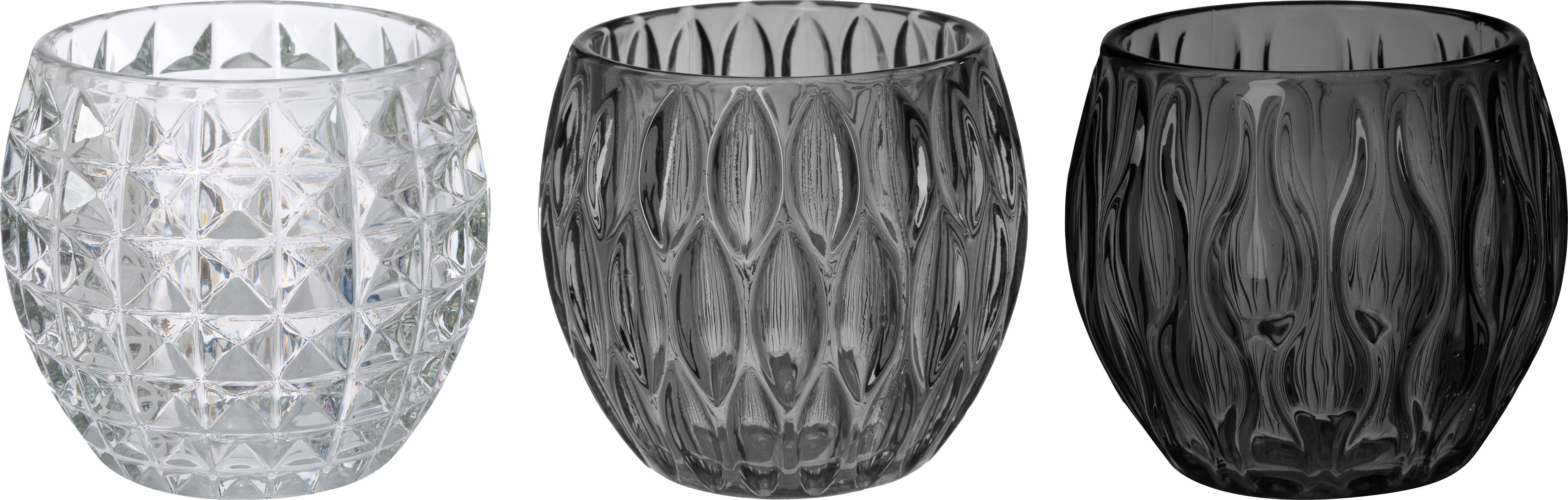 Set de portavelas Aliza, 3pzas., Vidrio, Gris, transparente, Ø 10 x Al 9 cm