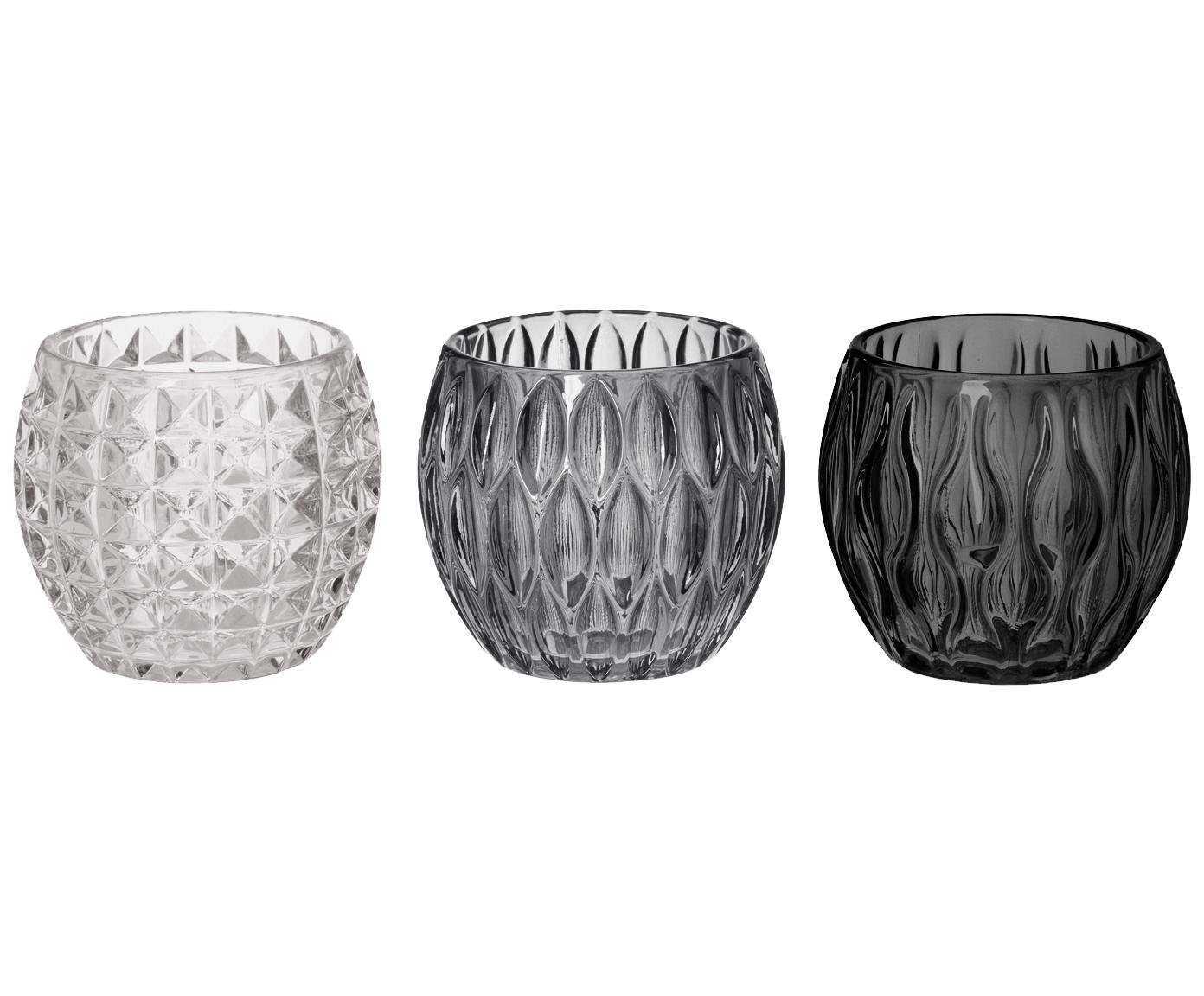 Komplet świeczników na podgrzewacze Aliza, 3 elem., Szkło, Szary, transparentny, Ø 10 x W 9 cm