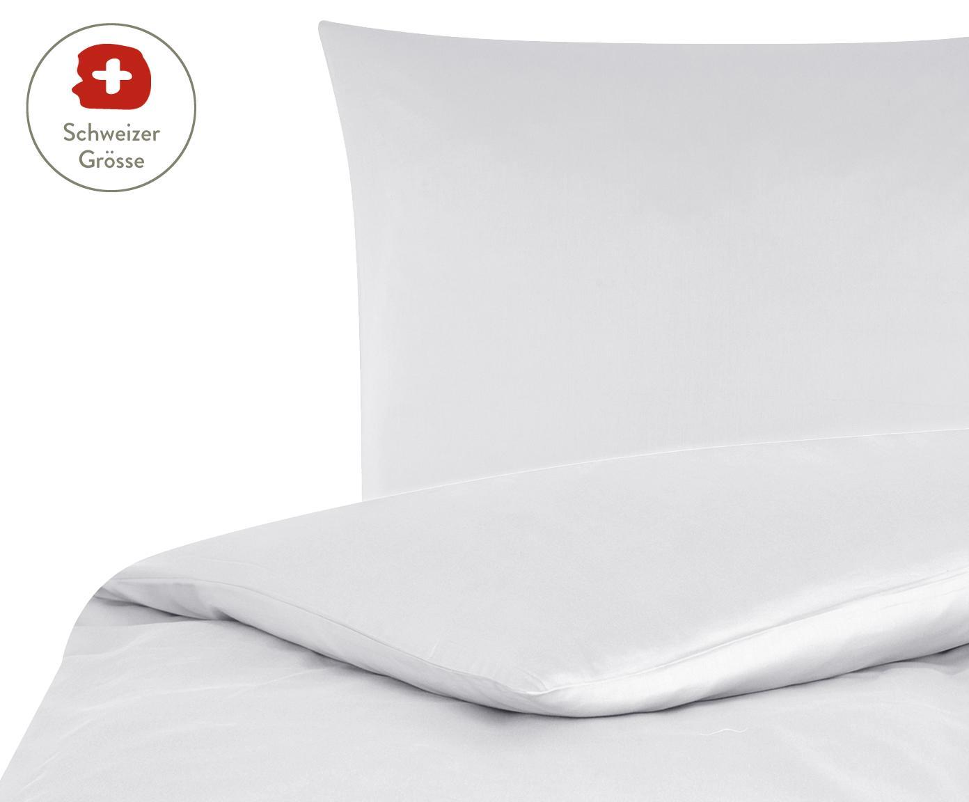 Baumwollsatin-Bettdeckenbezug Comfort in Hellgrau, Webart: Satin, leicht glänzend, Hellgrau, 160 x 210 cm
