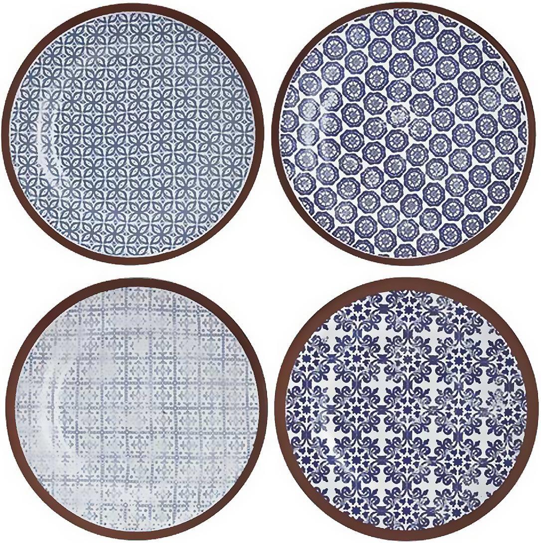 Handgemachte Frühstücksteller Tapas, 4er-Set, Terrakotta, Blau, Weiss, Braun, Ø 19 cm