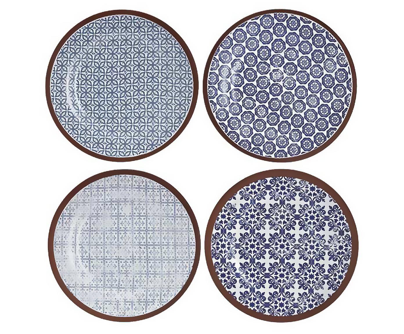 Set 4 piatti da colazione fatti a mano Tapas, Terracotta, Blu, bianco, marrone, Ø 19 cm