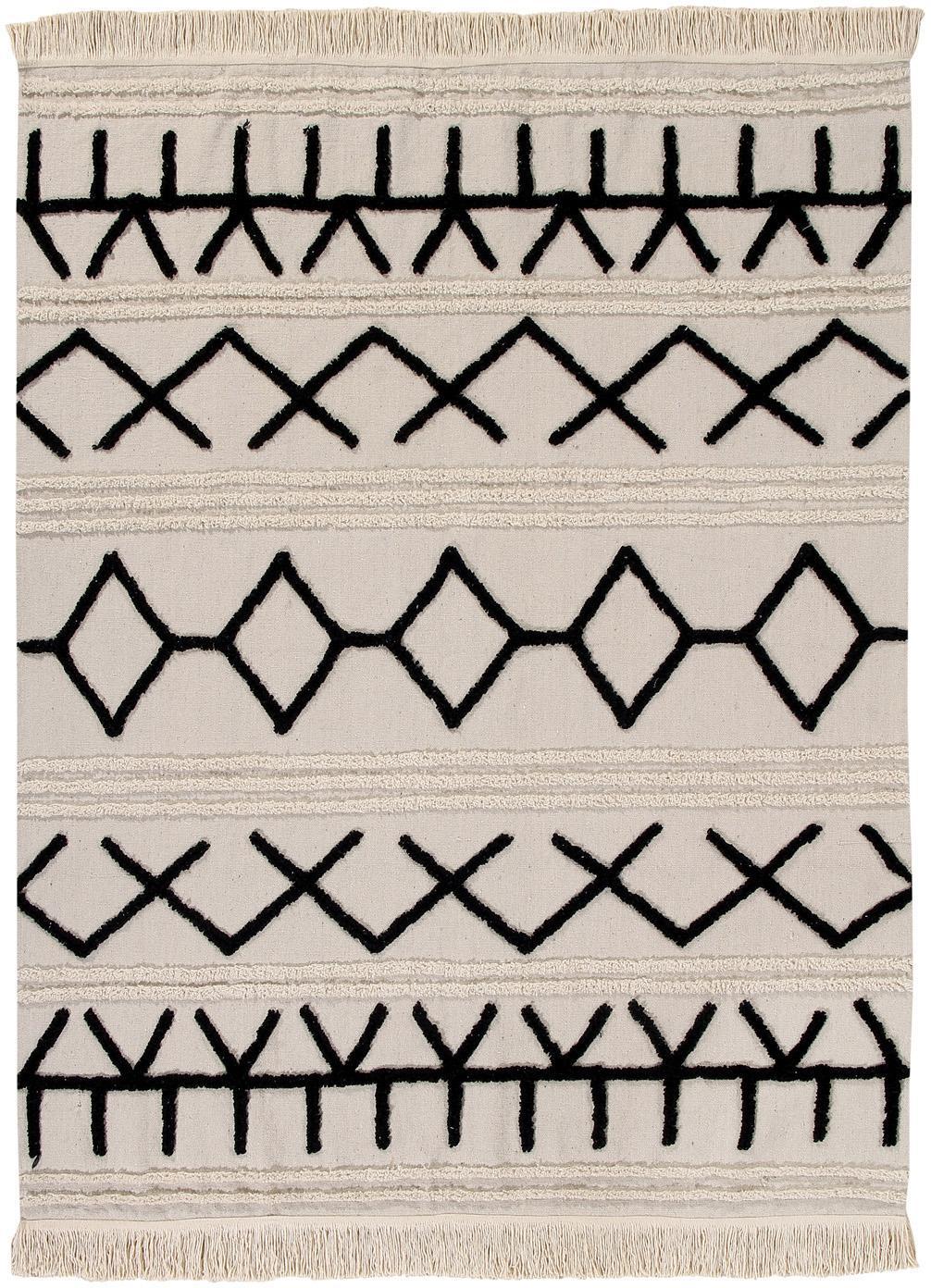 Teppich Berber, Flor: 60% Baumwolle, 40% recyce, Beige, Schwarz, B 120 x L 160 cm (Größe S)