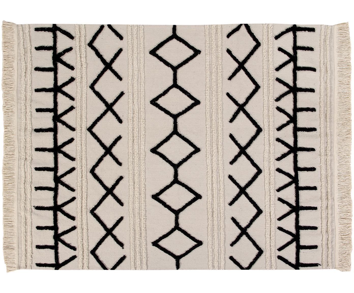 Tappeto in cotone lavabile Berber, Retro: cotone riciclato, Marrone chiaro, nero, Larg. 120 x Lung. 160 cm (taglia S)