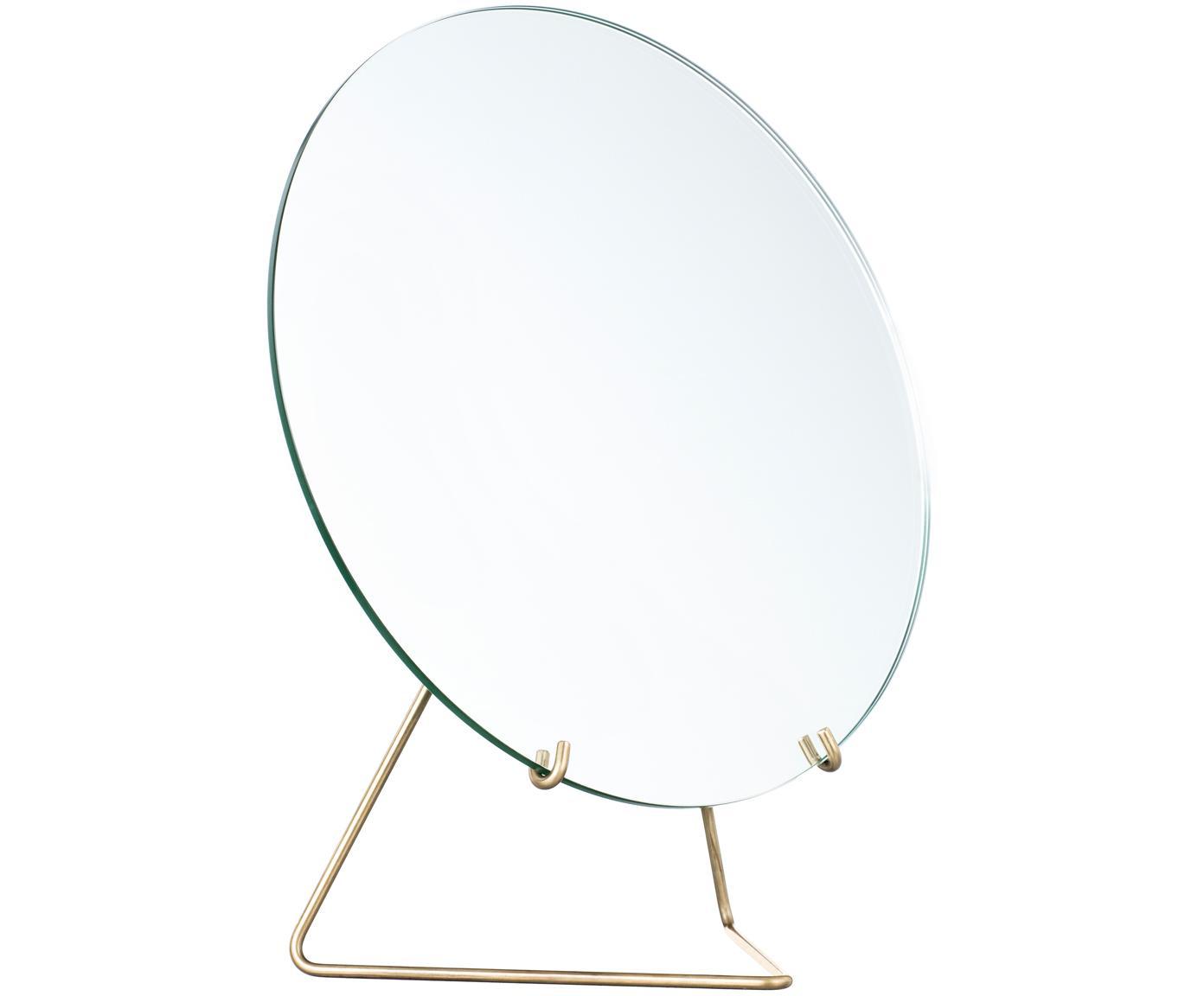 Lusterko kosmetyczne Standing Mirror, Zawieszka: mosiądz Lustro: szkło lustrzane, S 30 x W 35 cm