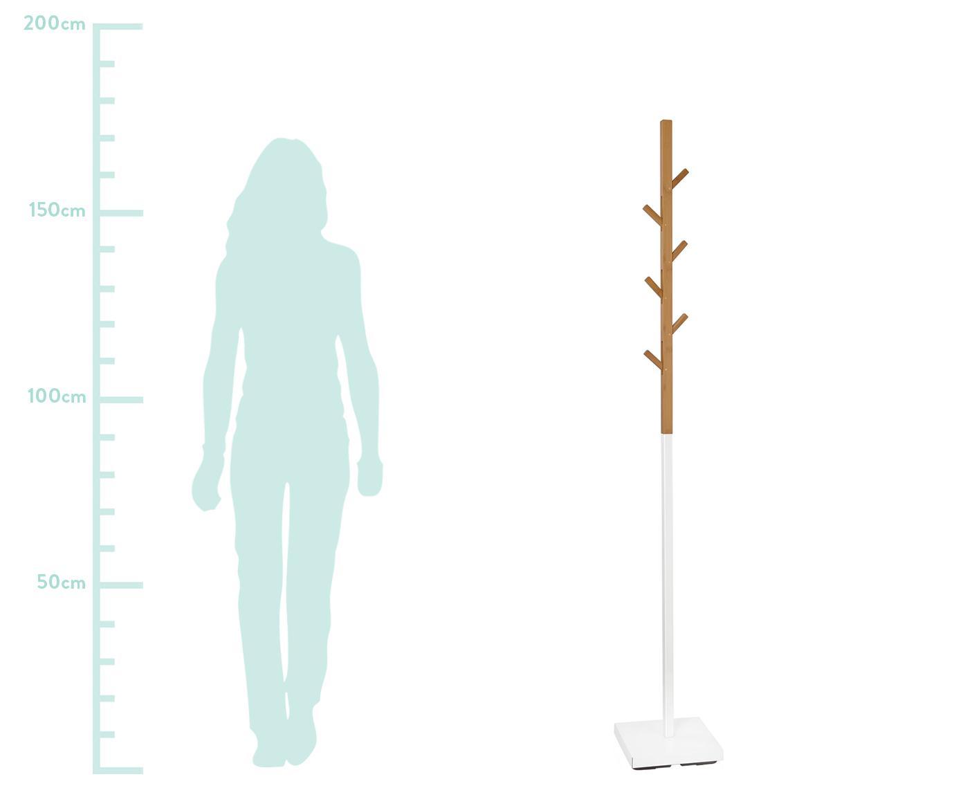 Kleiderständer Esteban mit 6 Haken, Bambus, Metall, Braun,Weiß, 26 x 176 cm