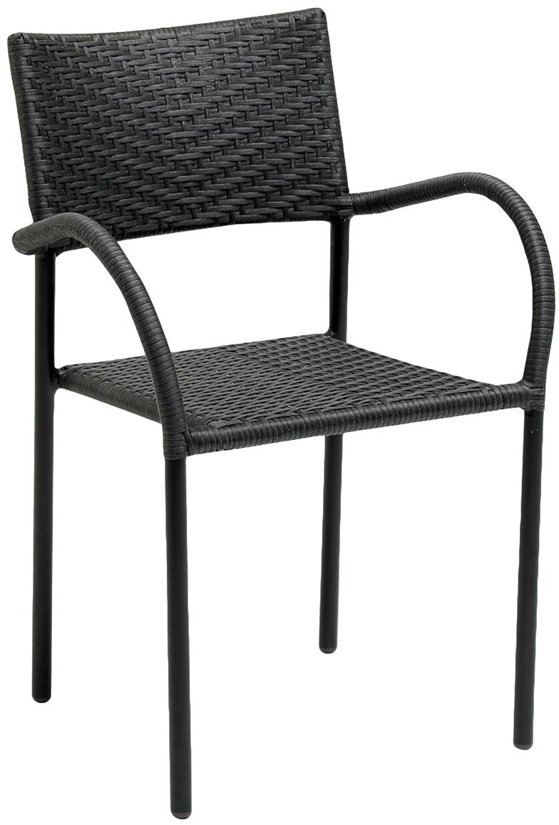 Krzesło ogrodowe z polirattanu z podłokietnikami Loke, Nogi: aluminium powlekane, Czarny, matowy, S 53 x G 60 cm