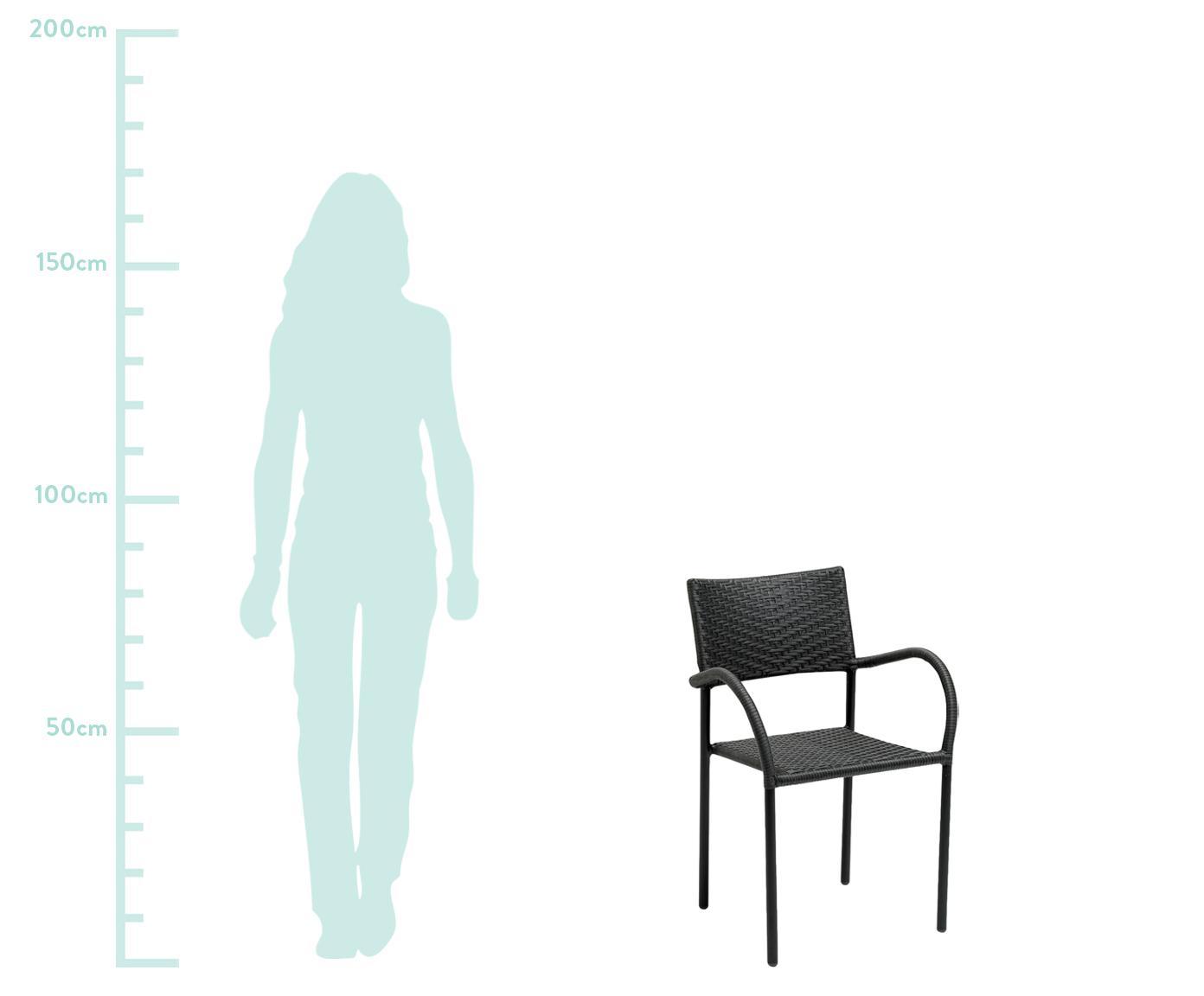 Zahradní židle z polyratanu s područkami Loke, Matná černá