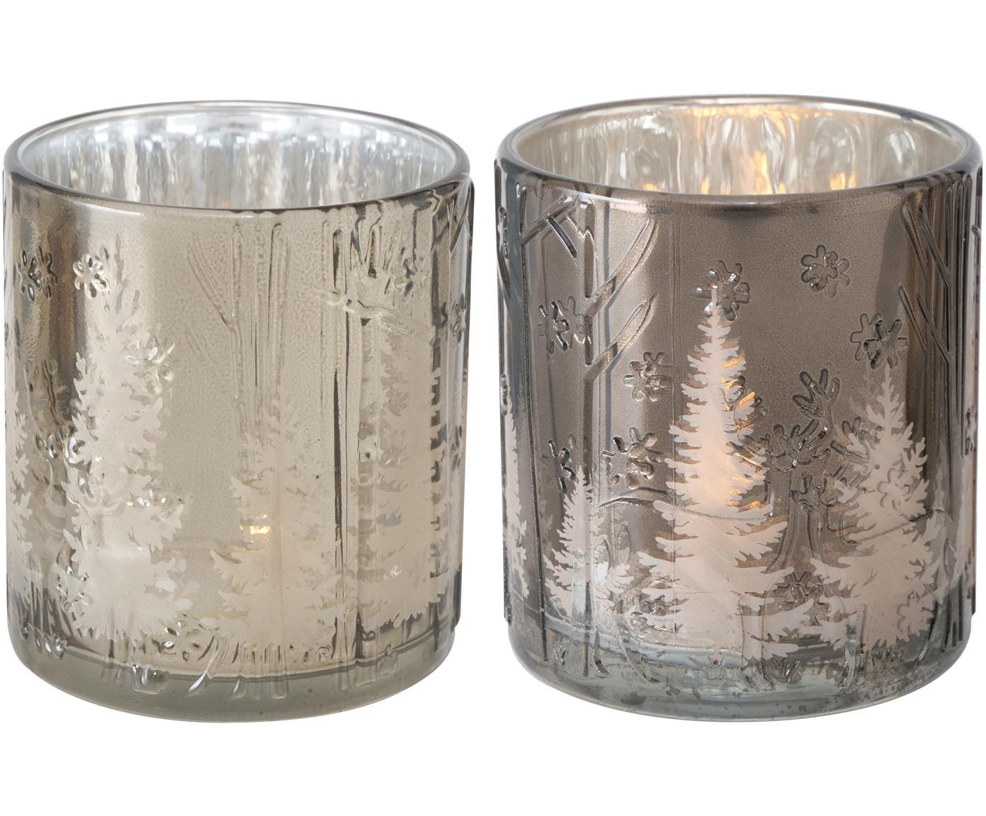 Teelicht-Set Skage, 2-tlg., Glas, lackiert, Silberfarben, Grau, glänzend, Ø 7 x H 8 cm