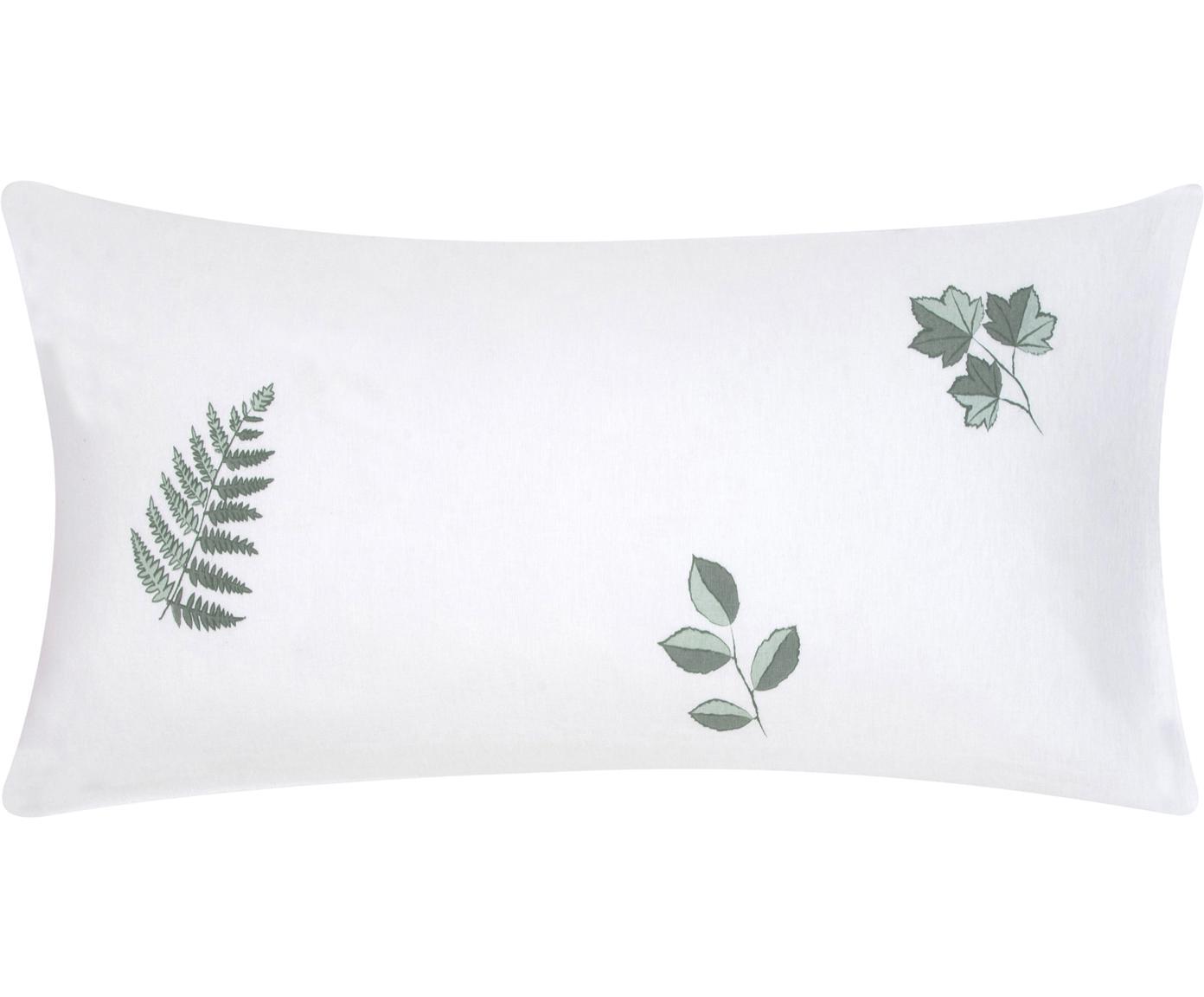 Flanell-Kissenbezüge Fraser mit winterlichem Blattmuster, 2 Stück, Webart: Flanell, Salbeigrün, Weiß, 40 x 80 cm