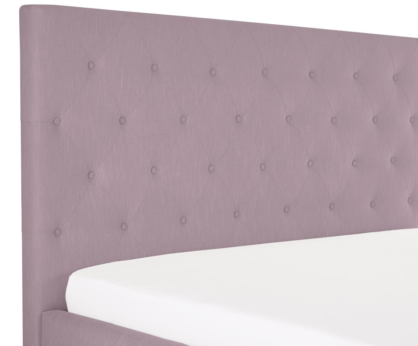 Łóżko tapicerowane Serene, Korpus: lite drewno sosnowe, Nogi: lite drewno dębowe, Tapicerka: poliester (materiał tekst, Fioletoworóżowy, 180 x 200 cm