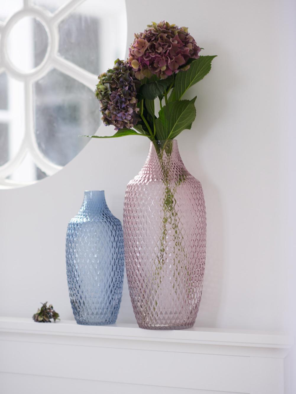 Große Glasvase Poesia, Glas, Blau, Ø 17 x H 40 cm