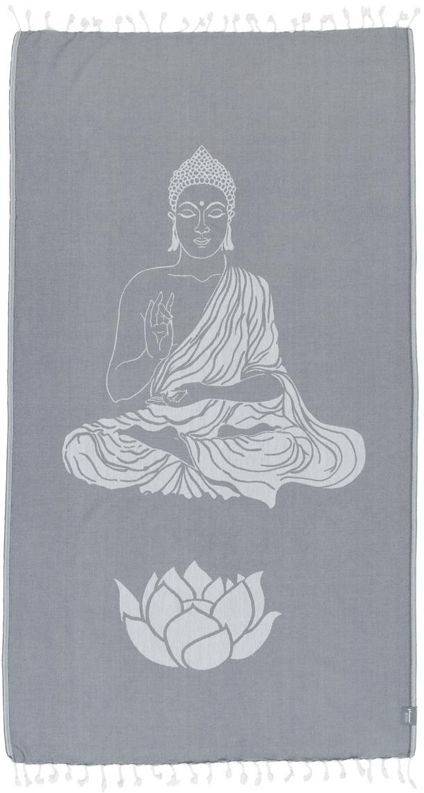 Fouta Buddha, Gris, blanco crudo, An 100 x L 180 cm