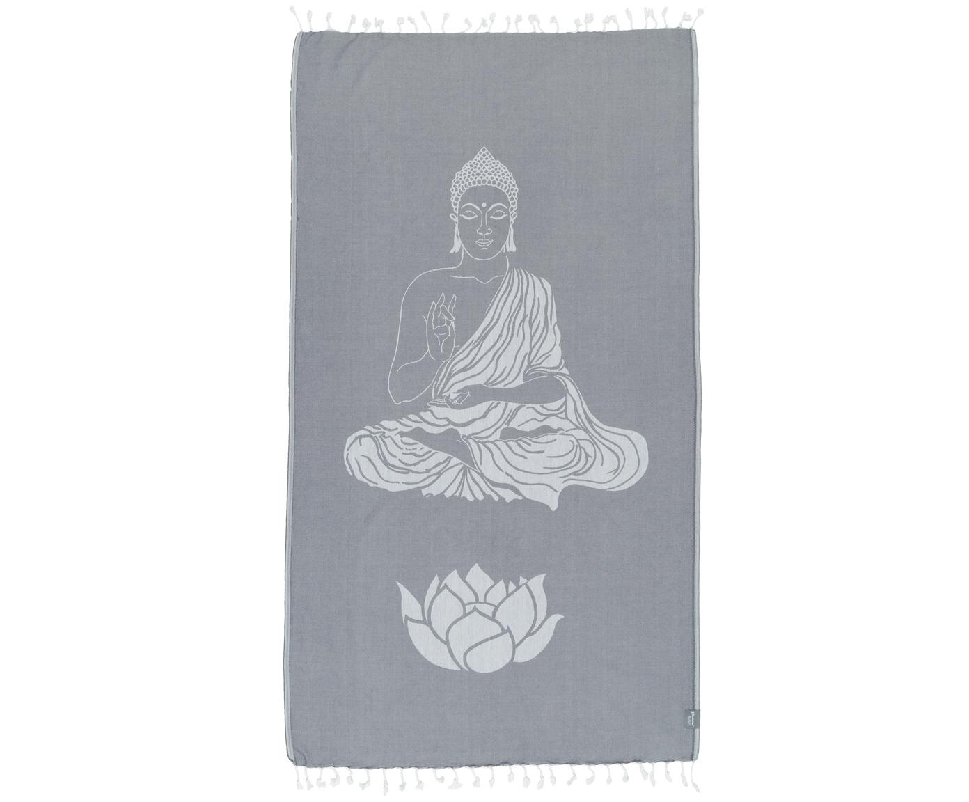Telo fouta in cotone Buddha, Cotone, qualità leggera, 180 g/m², Grigio, bianco latteo, Larg. 100 x Lung. 180 cm