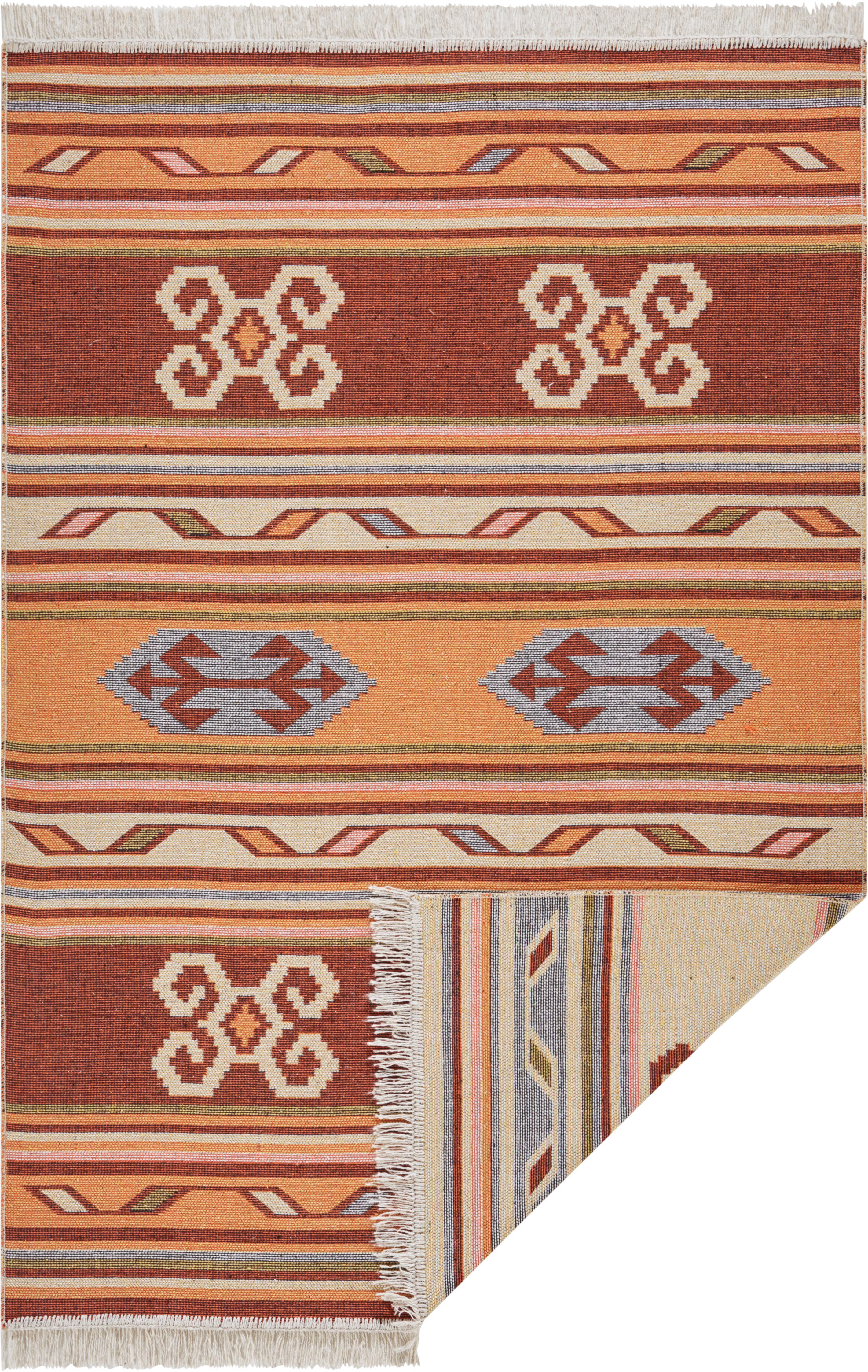 Kelimteppich Tansa aus Baumwolle, 100% Baumwolle, Orange, Mehrfarbig, B 70 x L 140 cm (Größe XS)