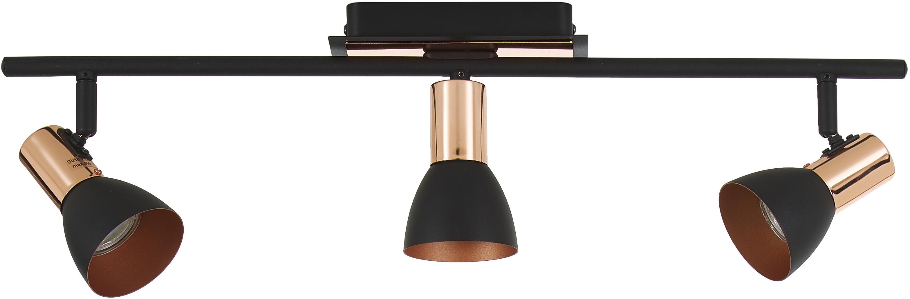 Riel Solaris, Fijación: acero pintado, cobre, Negro, cobre, An 60 cm