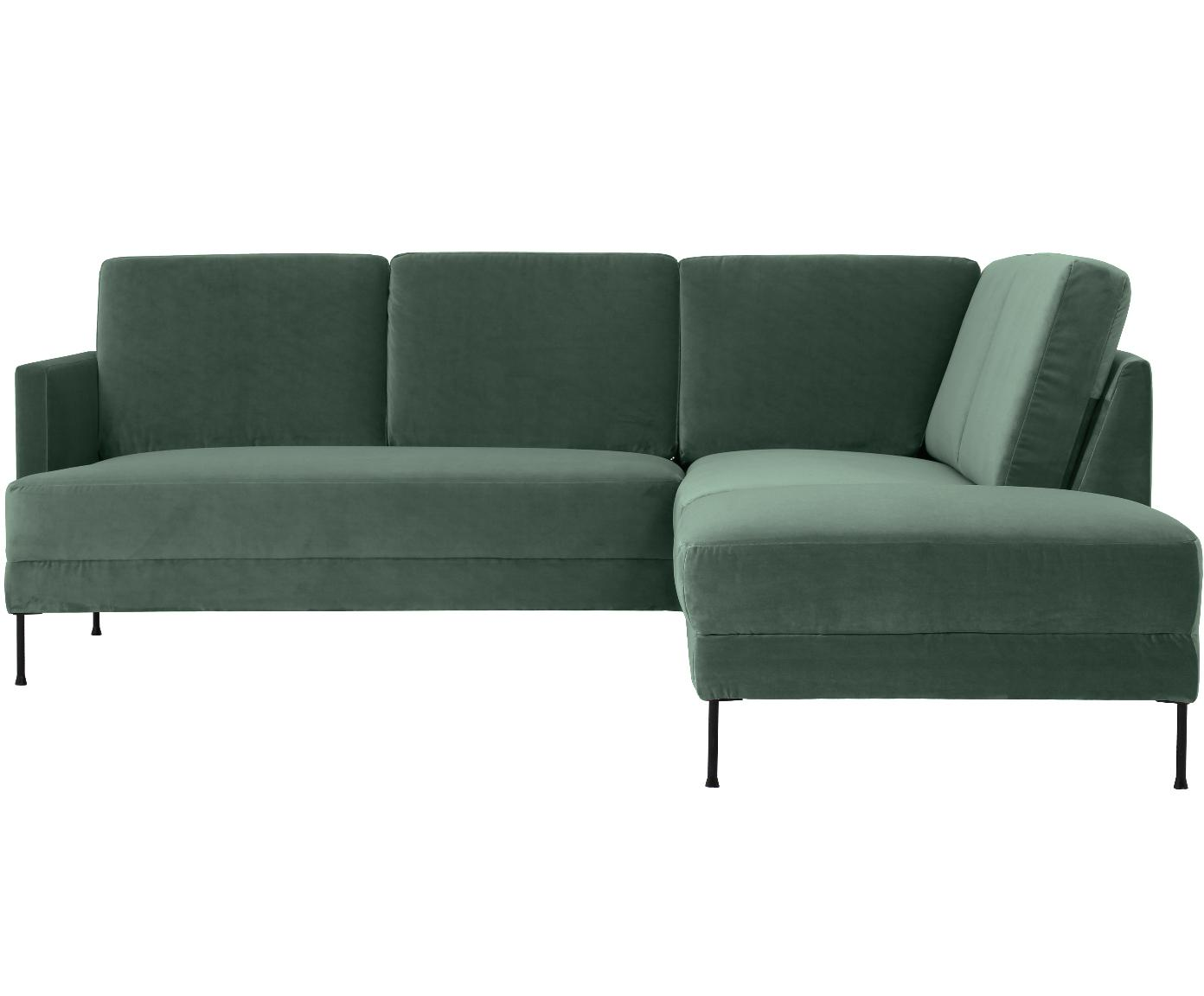 Fluwelen hoekbank Fluente, Bekleding: fluweel (hoogwaardig poly, Frame: massief grenenhout, Poten: gelakt metaal, Groen, B 221 x D 200 cm