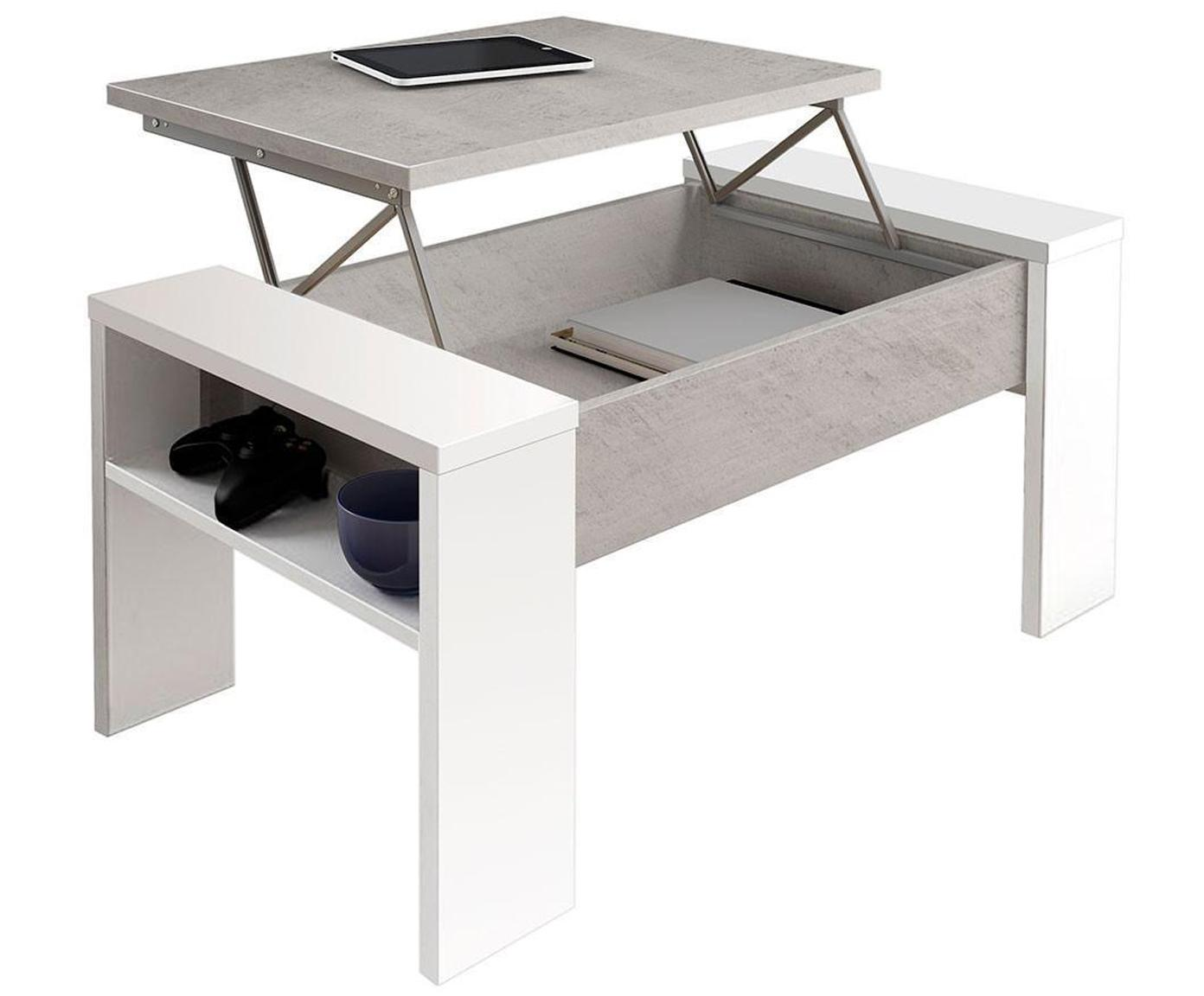Mesa de centro abatible James, Paneles ecológicos de particulas de madera Melamina, Beige, blanco, An 99 x Al 43 cm