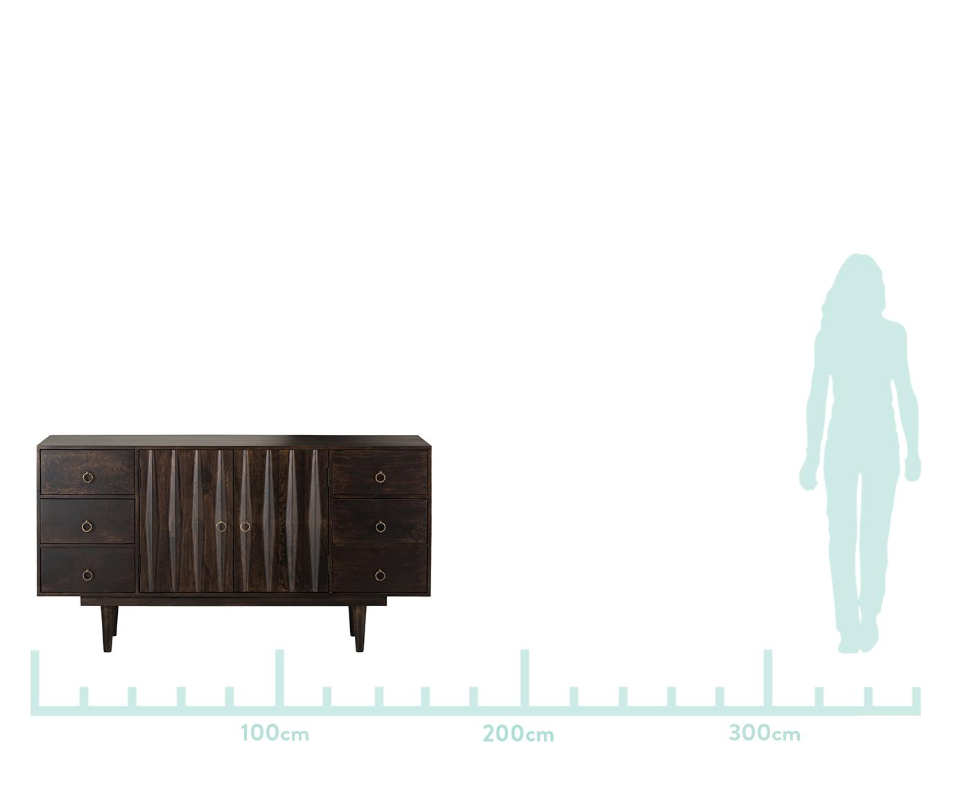 Komoda z litego drewna mangowego Kent, Korpus: masywne drewno mangowe, Korpus: drewno mangowe, błyszczący<br>Uchwyty: srebrny, S 160 x W 86 cm