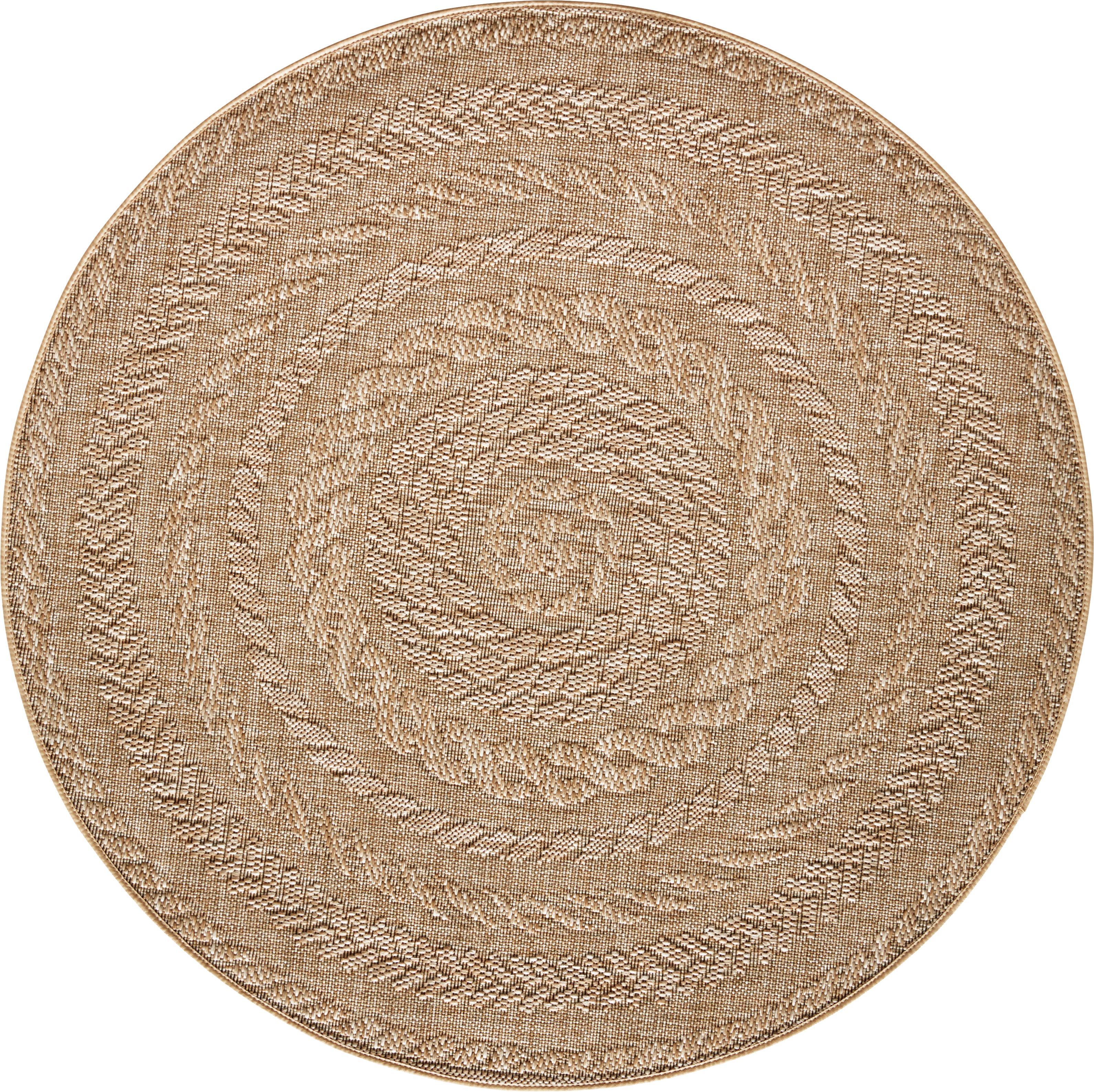 Rond in- en outdoor vloerkleed Almendro in jute look, Polypropyleen, Beige, bruin, Ø 160 cm