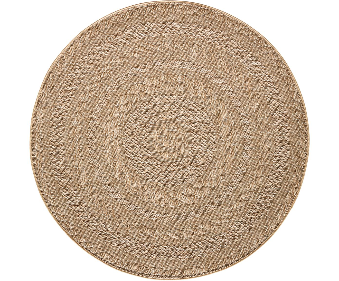 Rond in- en outdoor vloerkleed Almendro in jute look, Polypropyleen, Beige, bruin, Ø 160 cm