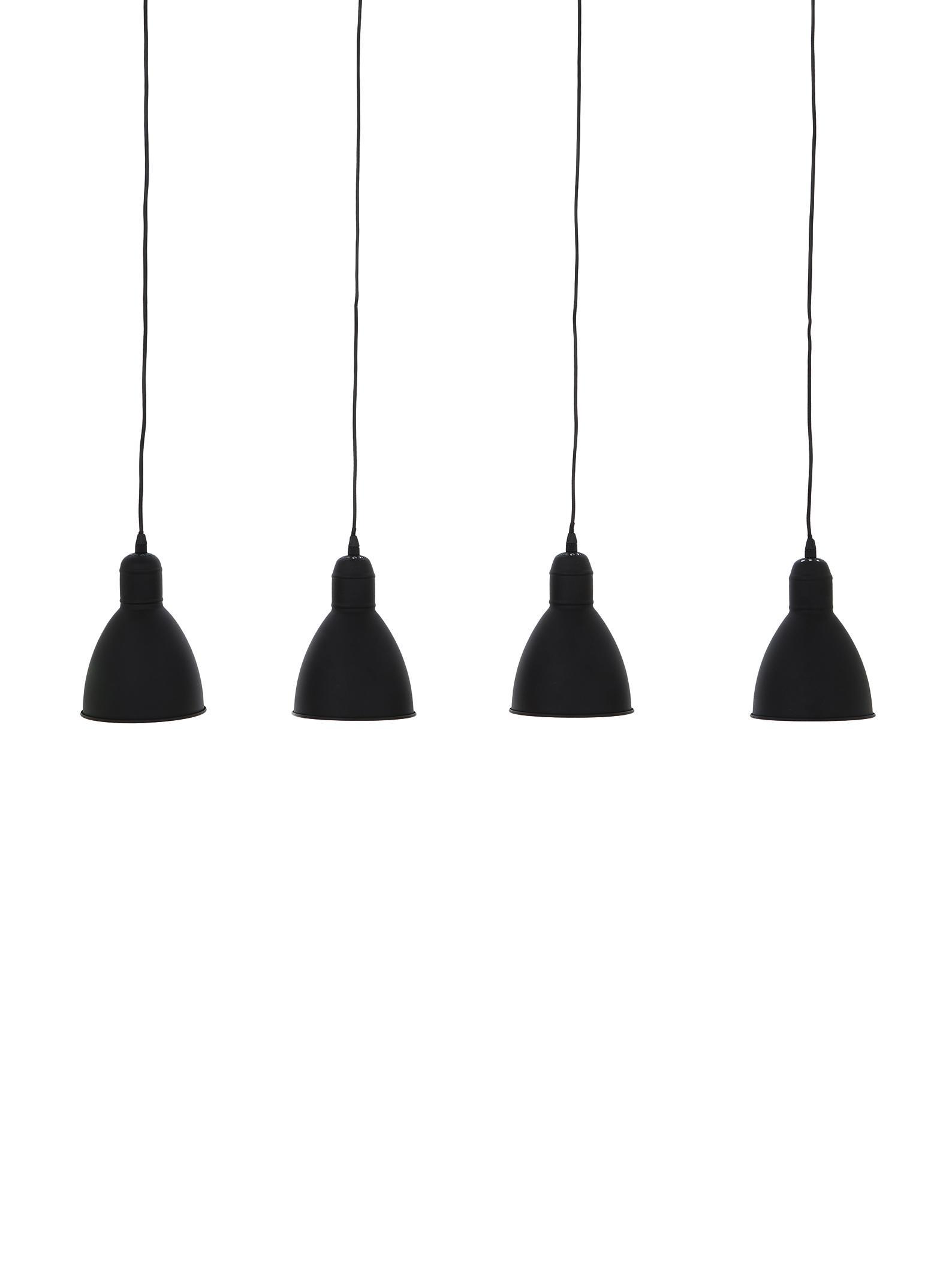 Scandi hanglamp Priddy, Gelakt staal, Zwart, 98 x 20 cm