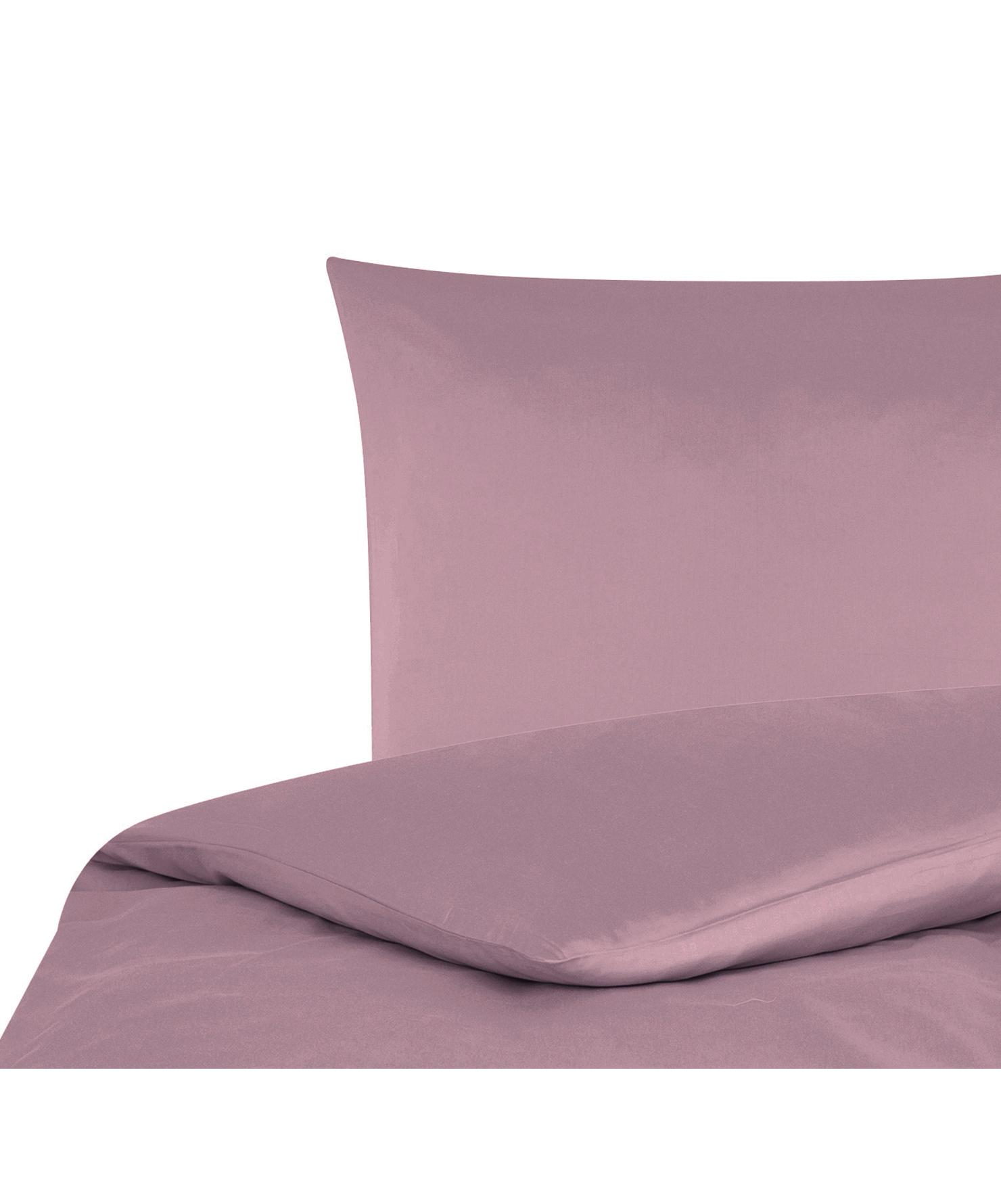Parure copripiumino in raso di cotone Comfort, Malva, 155 x 200 cm