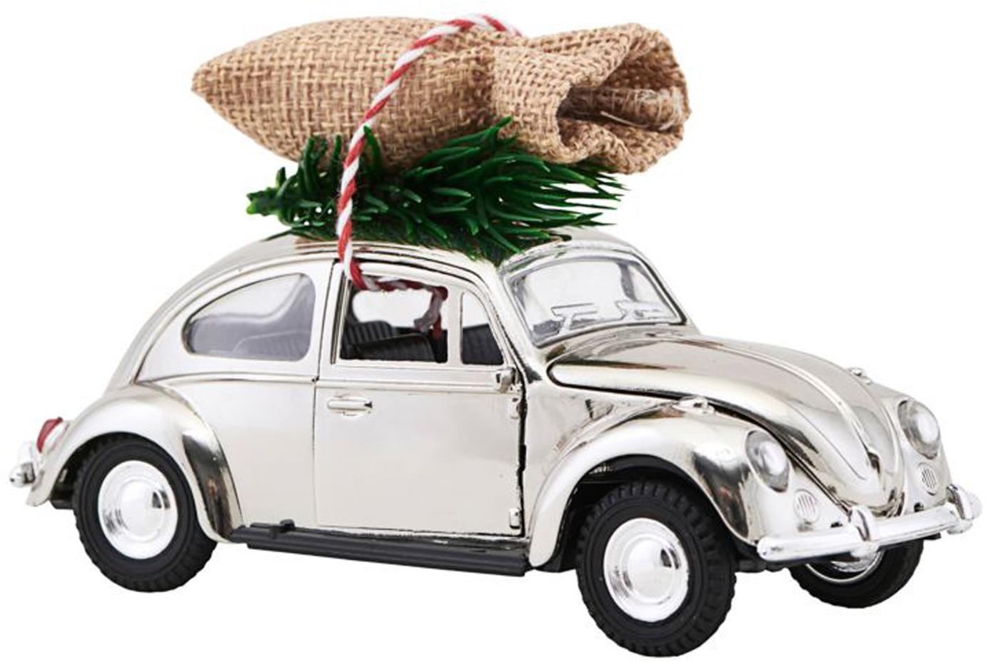 Decoratief object XMAS Delivery, Zink, plastic, Chroomkleurig, groen, beige, 5 x 7 cm