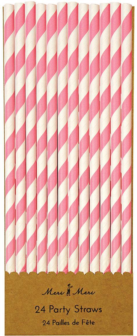 Strohhalme Agni, 24 Stück, Papier, Weiss, Pink, Ø 1 x H 20 cm