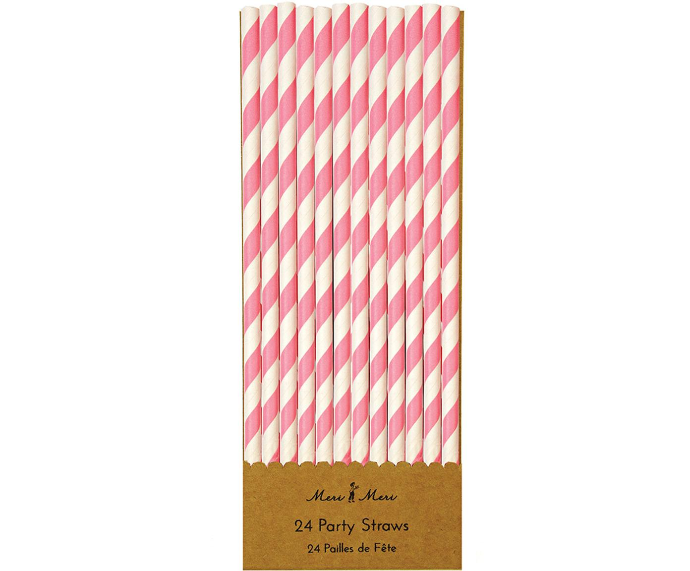 Pajitas Agni, 24uds., Papel, Blanco, rosa, Ø 1 x Al 20 cm