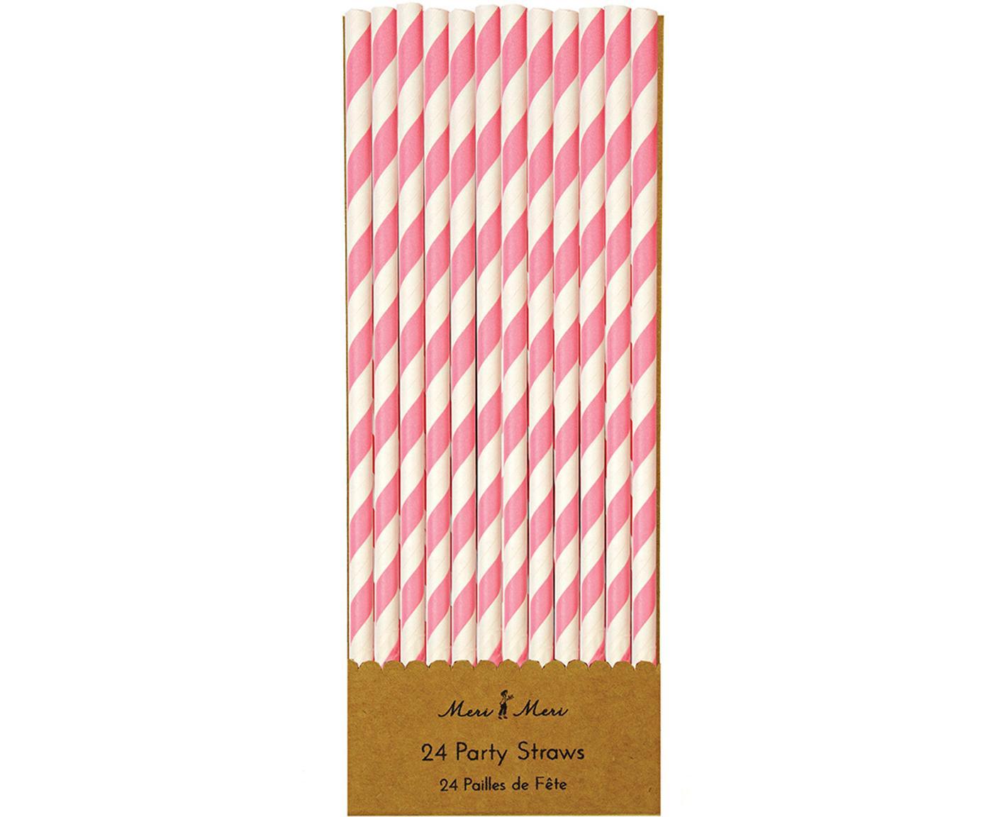 Rietjes Agni, 24 stuks, Papier, Wit, roze, Ø 1 x H 20 cm