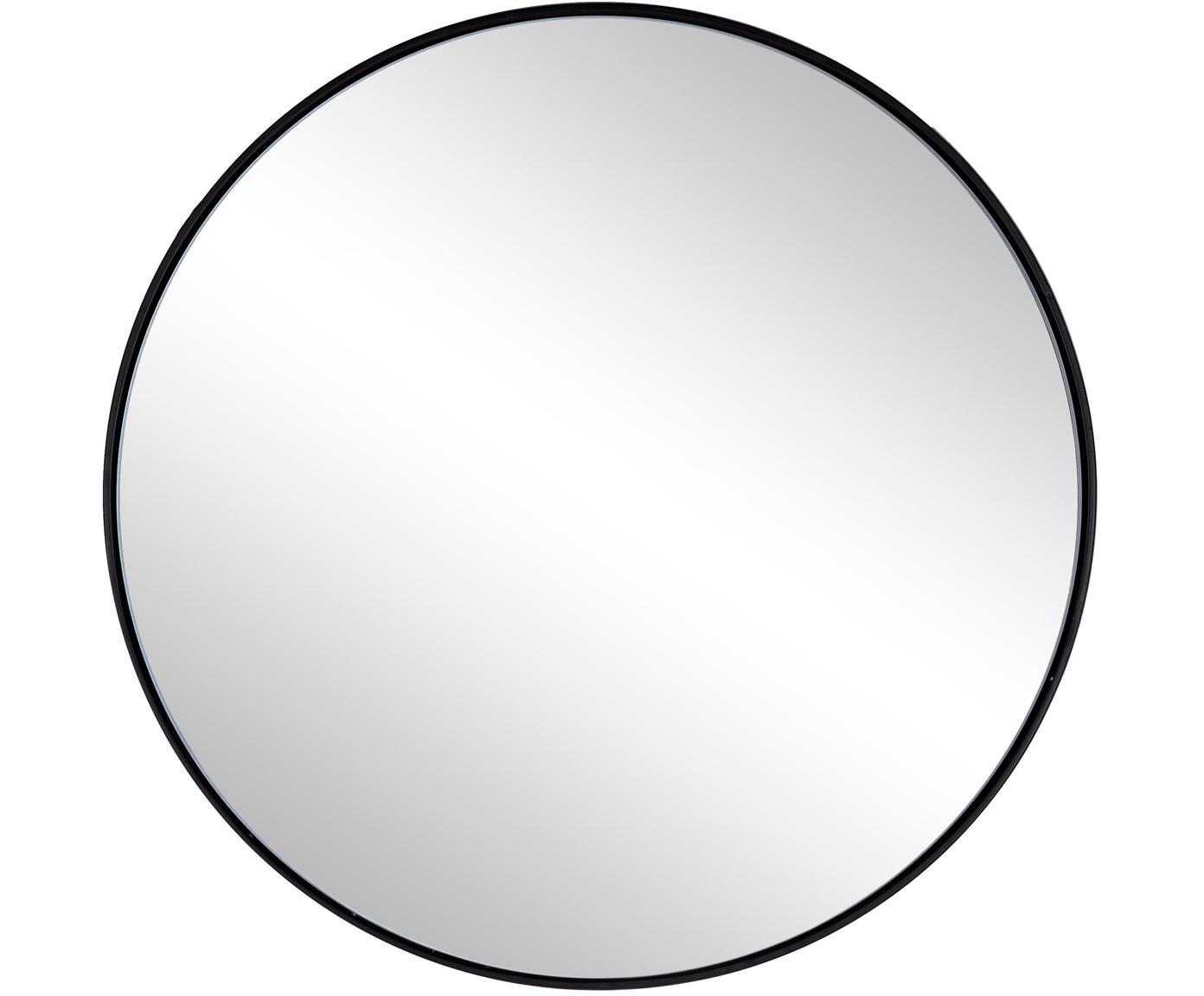 Runder Wandspiegel Nucleos mit schwarzem Metallrahmen, Rahmen: Metall, beschichtet, Spiegelfläche: Spiegelglas, Schwarz, Ø 50 cm