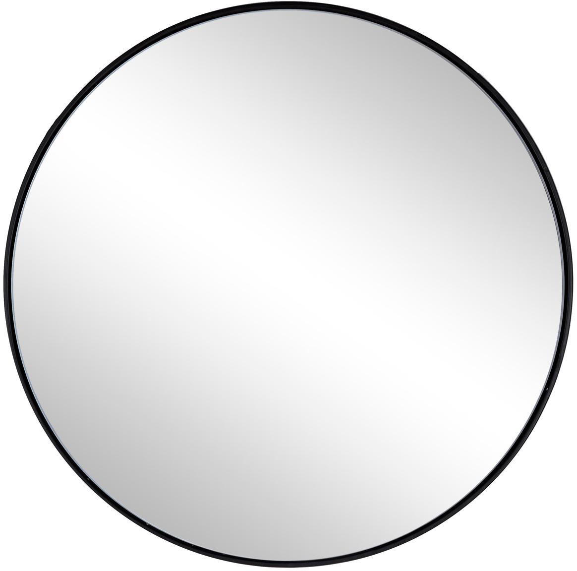 Ronde wandspiegel Nucleos met zwarte metalen lijst, Frame: gecoat metaal, Zwart, Ø 50 cm