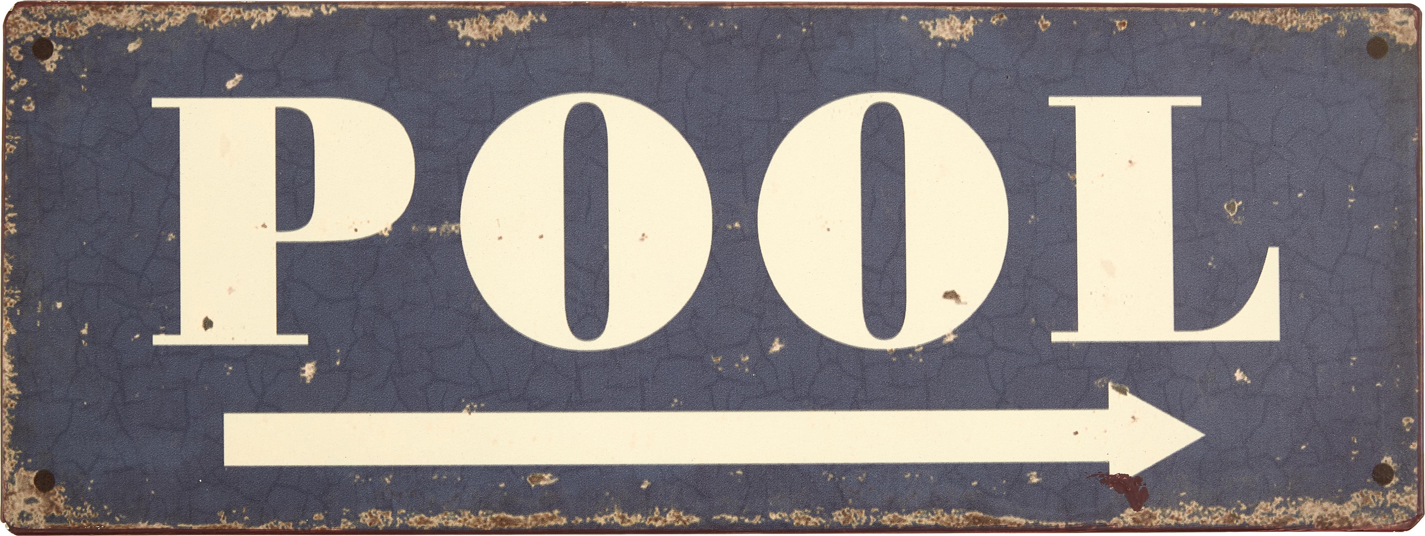 Wandschild Pool, Metall, mit Motivfolie beklebt, Dunkelblau, gebrochenes Weiß, Rostfarben, 40 x 15 cm